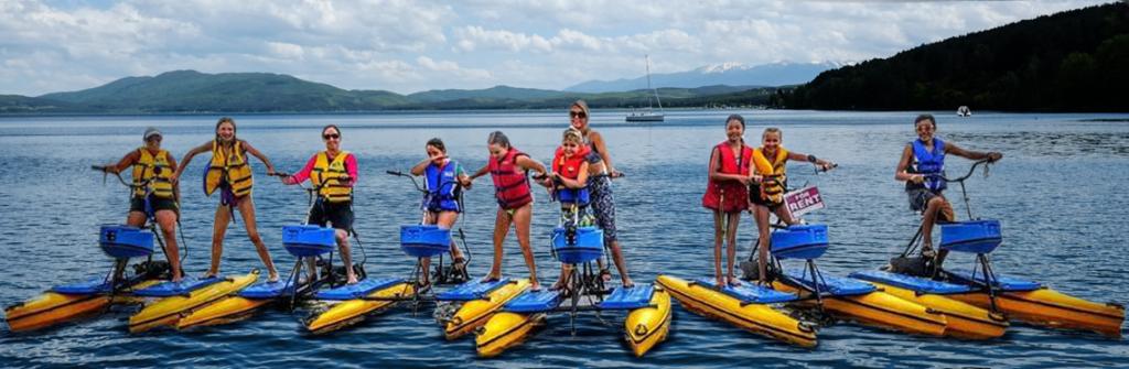 People playing on hydrobikes
